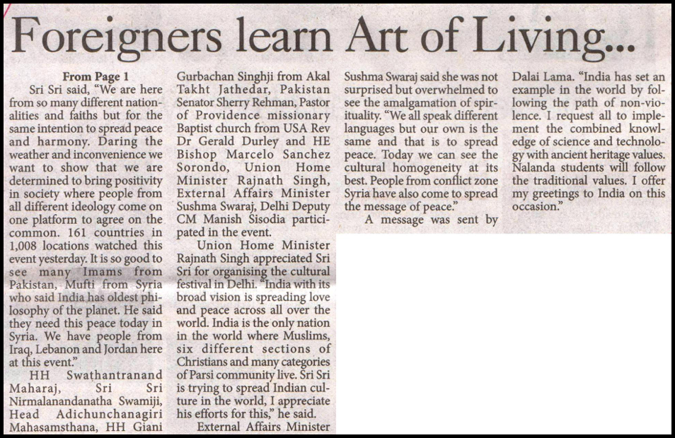 Foreginers Learn Art of Living